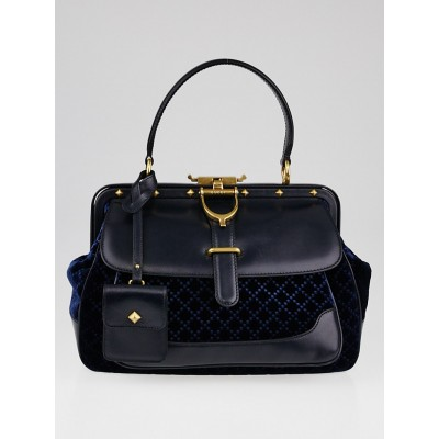 Gucci Blue Diamante Velvet and Leather Lady Stirrup Top-Handle Bag