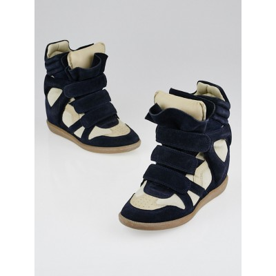 Isabel Marant Navy Blue Grey and Leather Bekett Sneaker Wedges Size 5.5/36