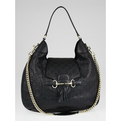 Gucci Black Guccissima Leather Emily Original Chain Hobo Bag