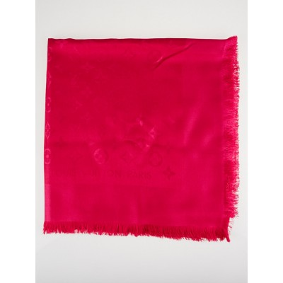Louis Vuitton Hot Pink Monogram Silk/Wool Shawl Scarf