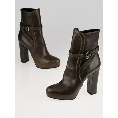 Prada Dark Brown Leather Ankle Boots Size 7/37.5