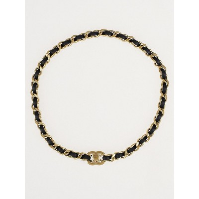 Chanel Goldtone Chain and Leather CC Wrap Bracelet