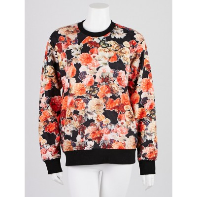 Givenchy Red/Black Floral Print Cotton Sweatshirt Size L