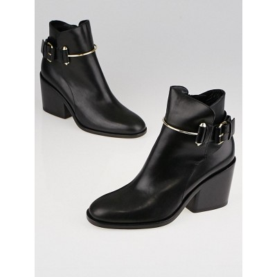 Balenciaga Black Leather Buckled Ankle Boots Size 5.5/36