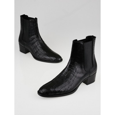 Yves Saint Laurent Black Croc Embossed Leather Blake Ankle Boots Size 8.5/39