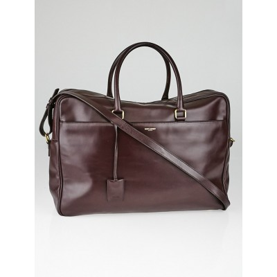 Yves Saint Laurent Bordeaux Leather Classic Duffle Briefcase Bag