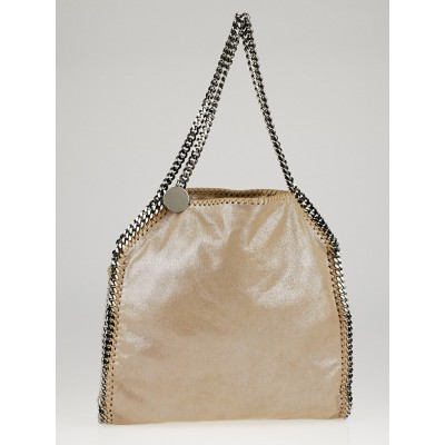 Stella McCartney Beige Shaggy Deer Faux-Leather Falabella Small Tote Bag