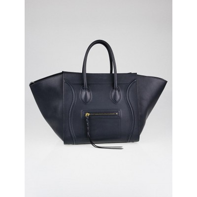 Celine Navy Blue Smooth Calfskin Leather Medium Phantom Luggage Tote Bag