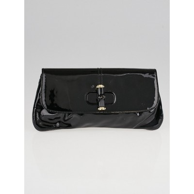 Gucci Black Patent Leather Bamboo Clutch Bag