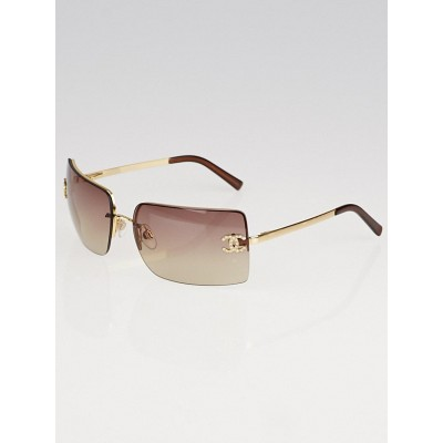 Chanel Gold/Brown Frameless Tinted Crystal CC Logo Sunglasses-4092B
