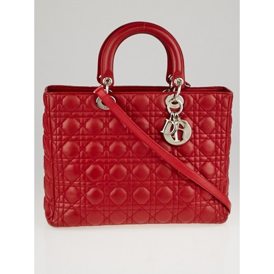 Christian Dior Red Cannage Quilted Lambskin Leather Large Lady Dior Bag