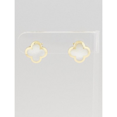 Van Cleef & Arpels 18k Yellow Gold and Mother-of-Pearl Pure Alhambra Earrings