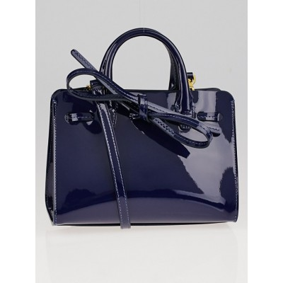 Mansur Gavriel Blu Patent Leather Mini Mini Sun Bag