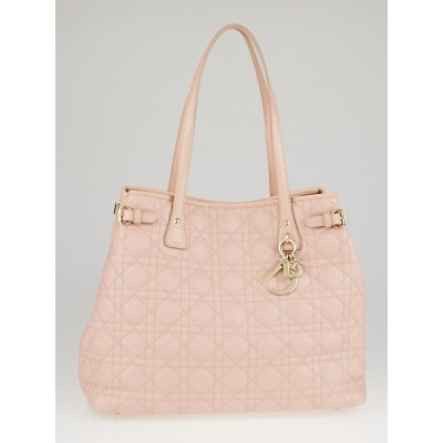 Christian Dior Pink Cannage Quilted Coated Canvas Medium Panarea Tote Bag