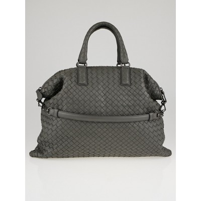 Bottega Veneta Grey Intrecciato Woven Nappa Leather Medium Convertible Bag