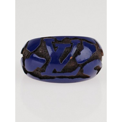Louis Vuitton Blue Lacquer Wood Leomonogram Ring Size 8