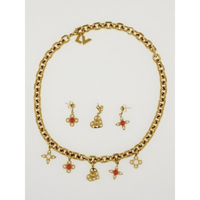 Louis Vuitton Goldtone Monogram Hide and Seek Necklace and Earrings Set