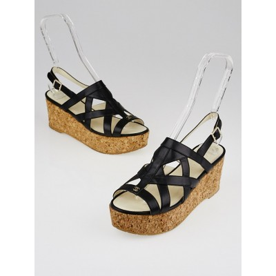 Chanel Black Leather and Cork Wedge Sandals Size 9/39.5