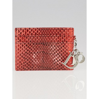 Christian Dior Papaye Shiny Ayers Lady Dior Card Case