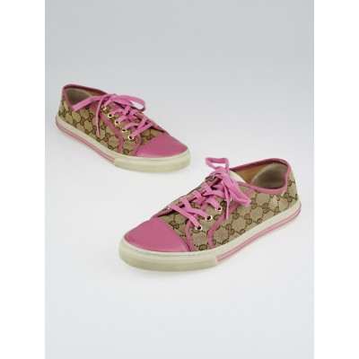 Gucci Beige/Pink GG Canvas Cap Toe Sneakers Size 10.5/41