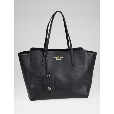 Gucci Black Pebbled Leather Medium Swing Tote Bag