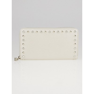Alexander McQueen Metallic White Textured Leather Studded Zippy Wallet