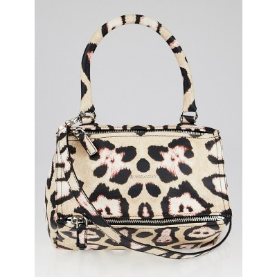 Givenchy Beige/Black Jaguar Print Grainy Calfskin Leather Small Pandora Bag