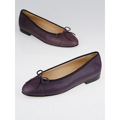 Chanel Dark Burgundy Iridescent Leather CC Cap Toe Ballet Flats Size 7/37.5
