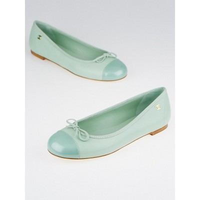 Chanel Light Green Leather Coco Jazz Cap Toe Ballet Flats Size 7/37.5