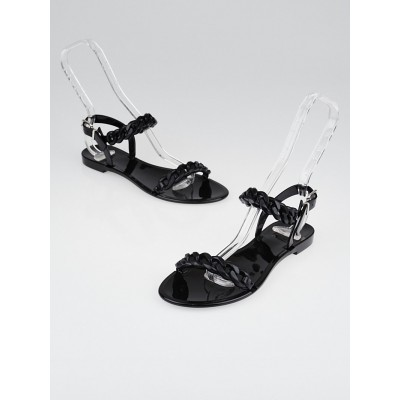 Givenchy Black Jelly Flat Chain Sandals Size 8.5/39