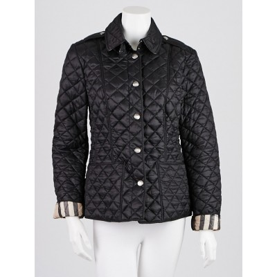 Burberry Brit Black Quilted Nylon Kencott Jacket Size M