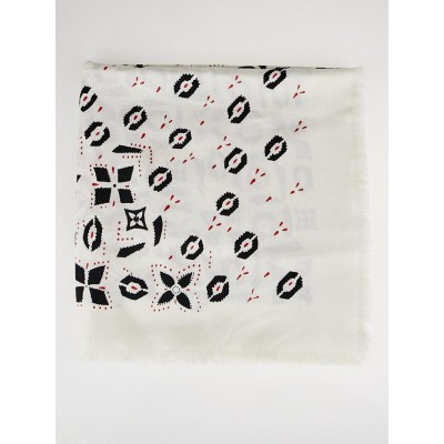 Louis Vuitton Black Graphic Print Wool/Silk Shawl Scarf