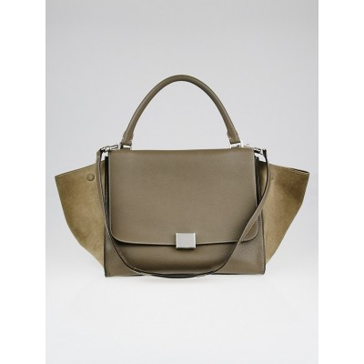 Celine Taupe Pebbled Calfskin Leather and Suede Small Trapeze Bag