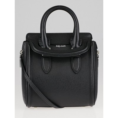 Alexander McQueen Black Grained Leather Heroine Bag