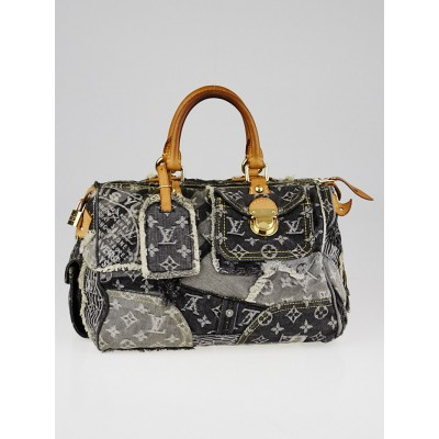 Louis Vuitton Limited Edition Grey Denim Monogram Denim Patchwork Speedy Bag