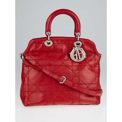 Christian Dior Red Cannage Quilted Lambskin Leather Granville Tote Bag