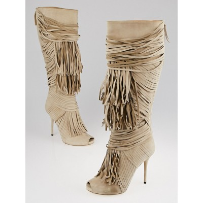 Gucci Beige Suede Fringe Peep Toe Tall Boots Size 8/38.5