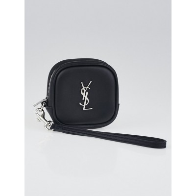 Yves Saint Black Leather Monogram Key and Coin Pouch