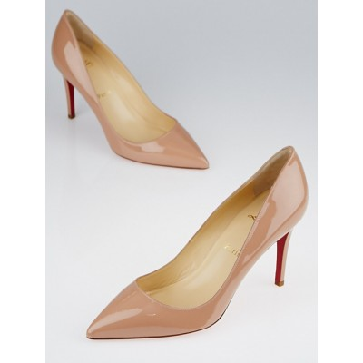 Christian Louboutin Nude Patent Leather Pigalle 85 Pumps Size 7.5/38