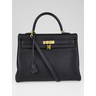 Hermes 35cm Indigo Togo Leather Gold Plated Kelly Retourne Bag