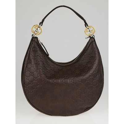 Gucci Dark Brown Guccissima Leather GG Twins Medium Hobo Bag