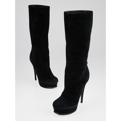 Yves Saint Laurent Black Suede Tribute 105 Tall Boots Size 6.5/37