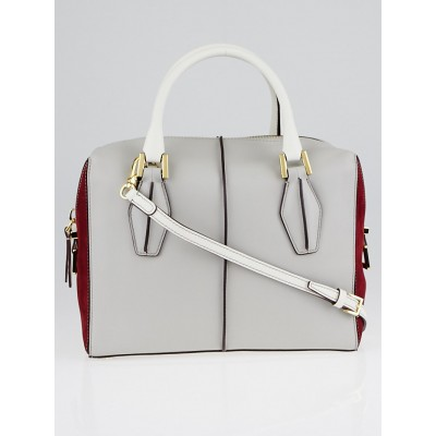 Tod's Grey Leather and Red Suede Bauletto Bag
