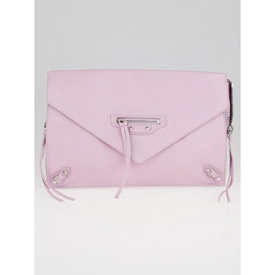 Balenciaga Pink Calfskin Leather Papier Zip Around Sight Clutch Bag