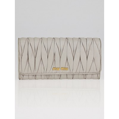 Miu Miu Grey Matelasse Quilted Leather Continental Flap Wallet