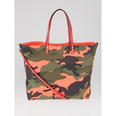 Valentino Pink Camouflage Canvas Reversible Shopper Tote Bag