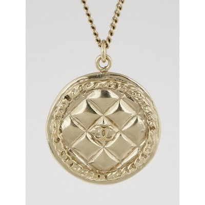 Chanel Goldtone Metal Quilted CC Medallion Necklace