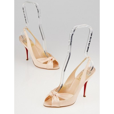 Christian Louboutin Light Pink Crepe Satin Moustique 100 Slingback Pumps Size 5.5/36