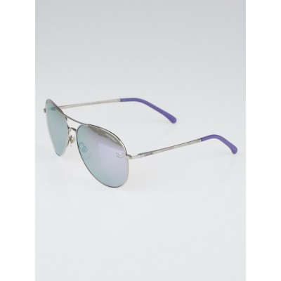 Chanel Silvertone Metal Frame and Purple Tint Aviator Sunglasses-5914