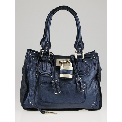 Chloe Metallic Blue Leather Paddington Tote Bag